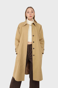 Dark beige single breasted hidden button trench coat5
