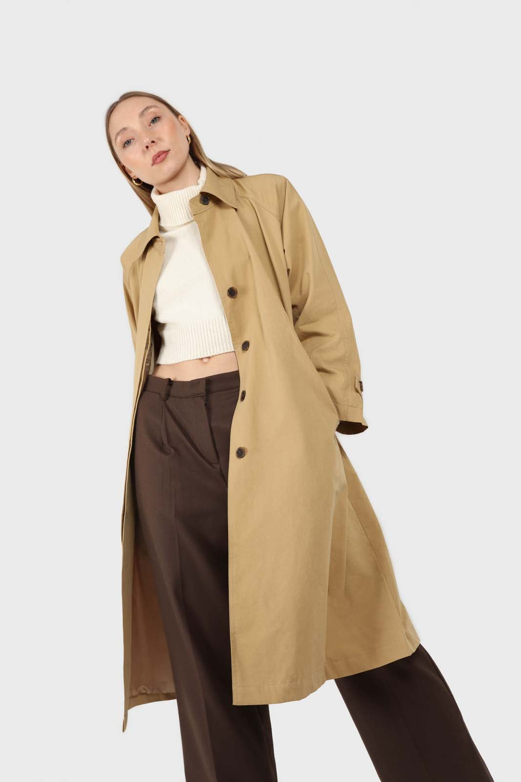 Dark beige single breasted hidden button trench coat6