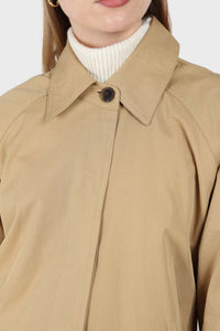 Dark beige single breasted hidden button trench coat7