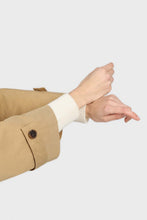 Load image into Gallery viewer, Dark beige single breasted hidden button trench coat8