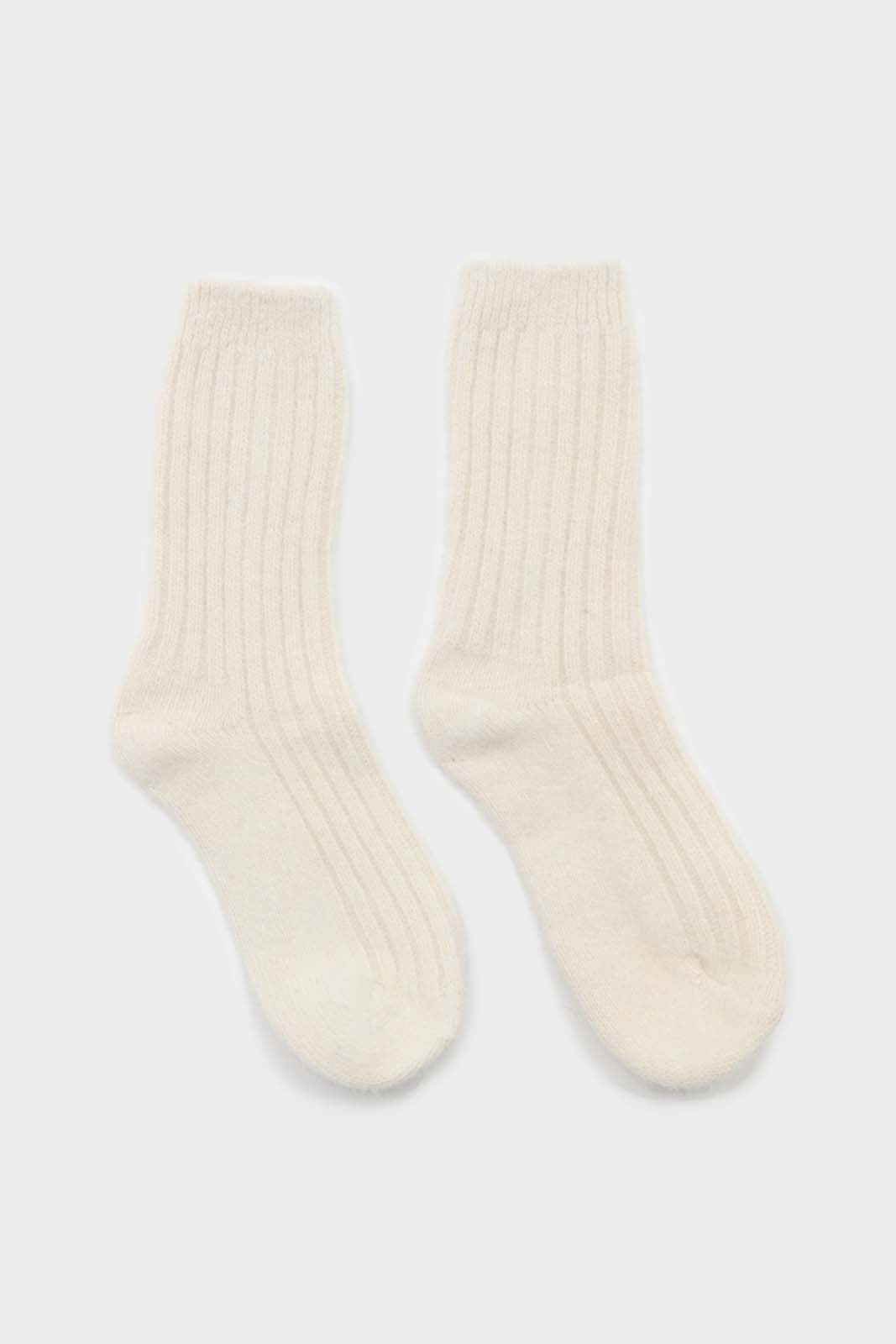Ivory large ribbed angora socks2