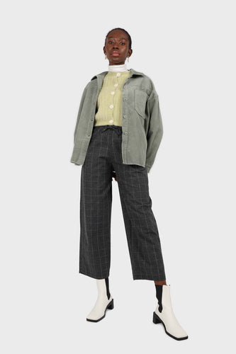 Charcoal and white box checked loose fit trousers1sx