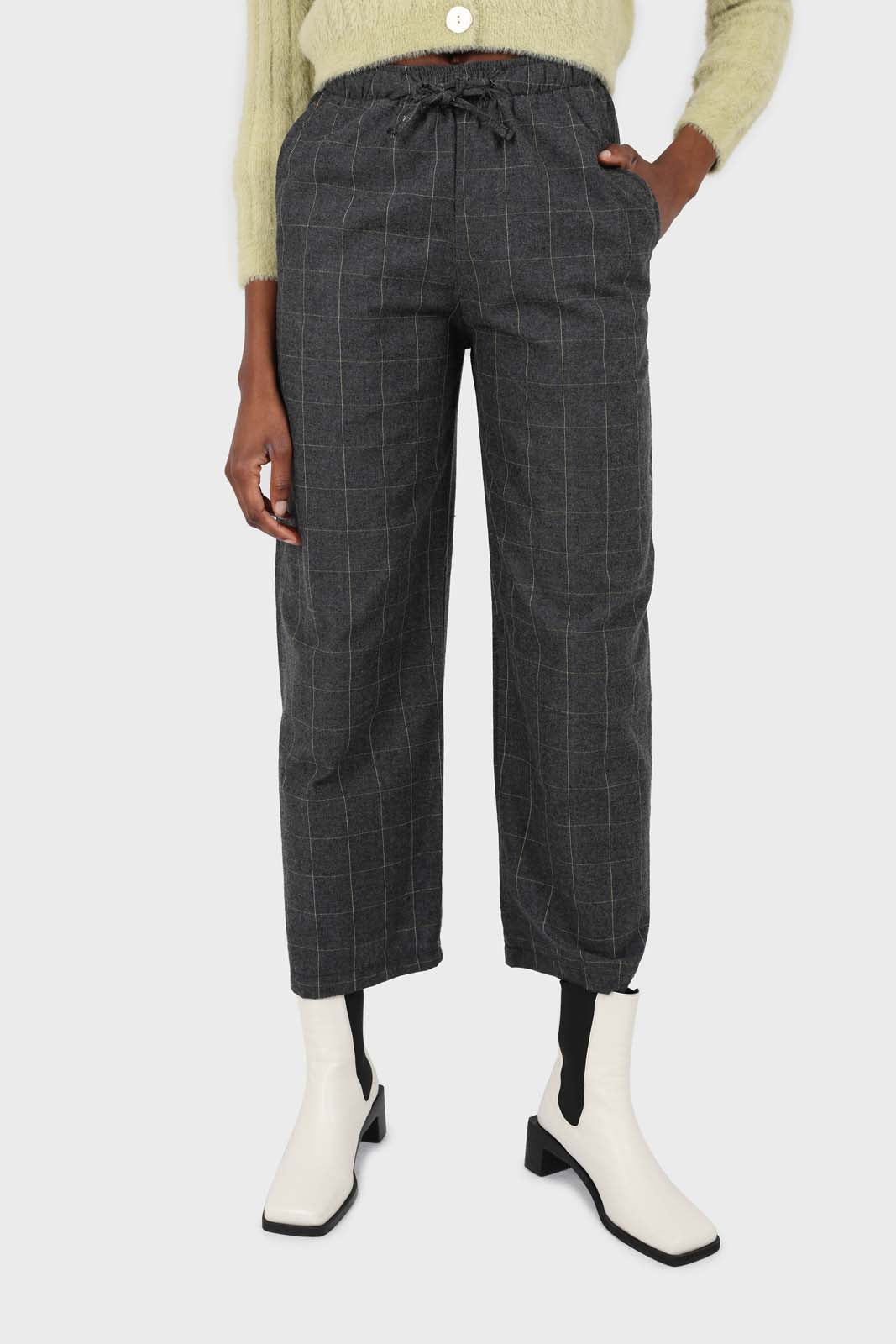Charcoal and white box checked loose fit trousers2