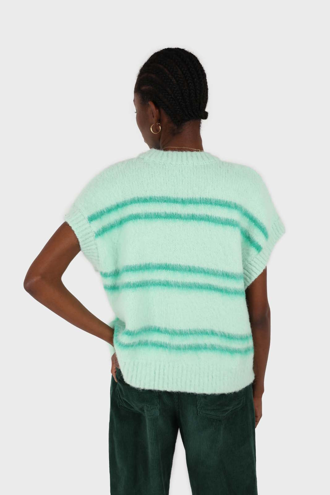 Mint striped wool blend sweater vest3