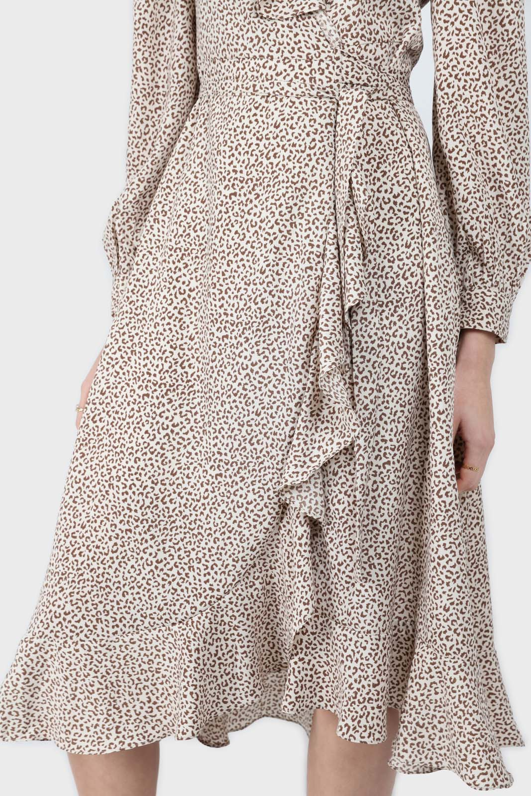 Ivory and brown animal print ruffle trim wrap dress2