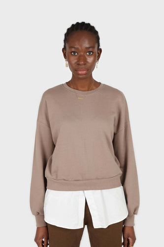 Pale brown white hem layered sweatshirt1sx