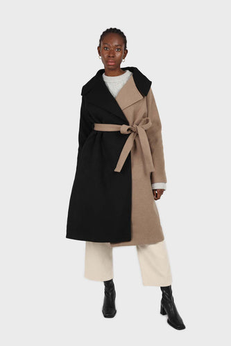 Beige and black wool blend contrast panel belted coat1sx
