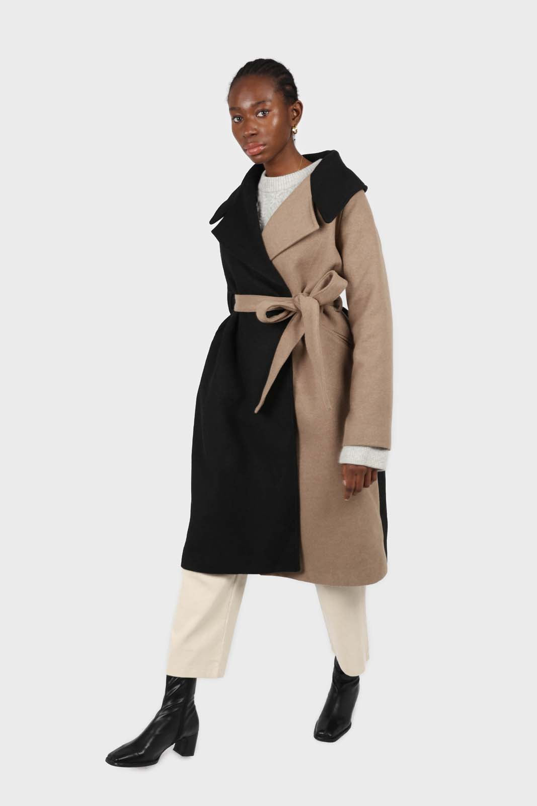 Beige and black wool blend contrast panel belted coat2