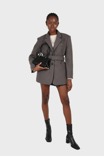 Charcoal wool blend oversized belted blazer1sx