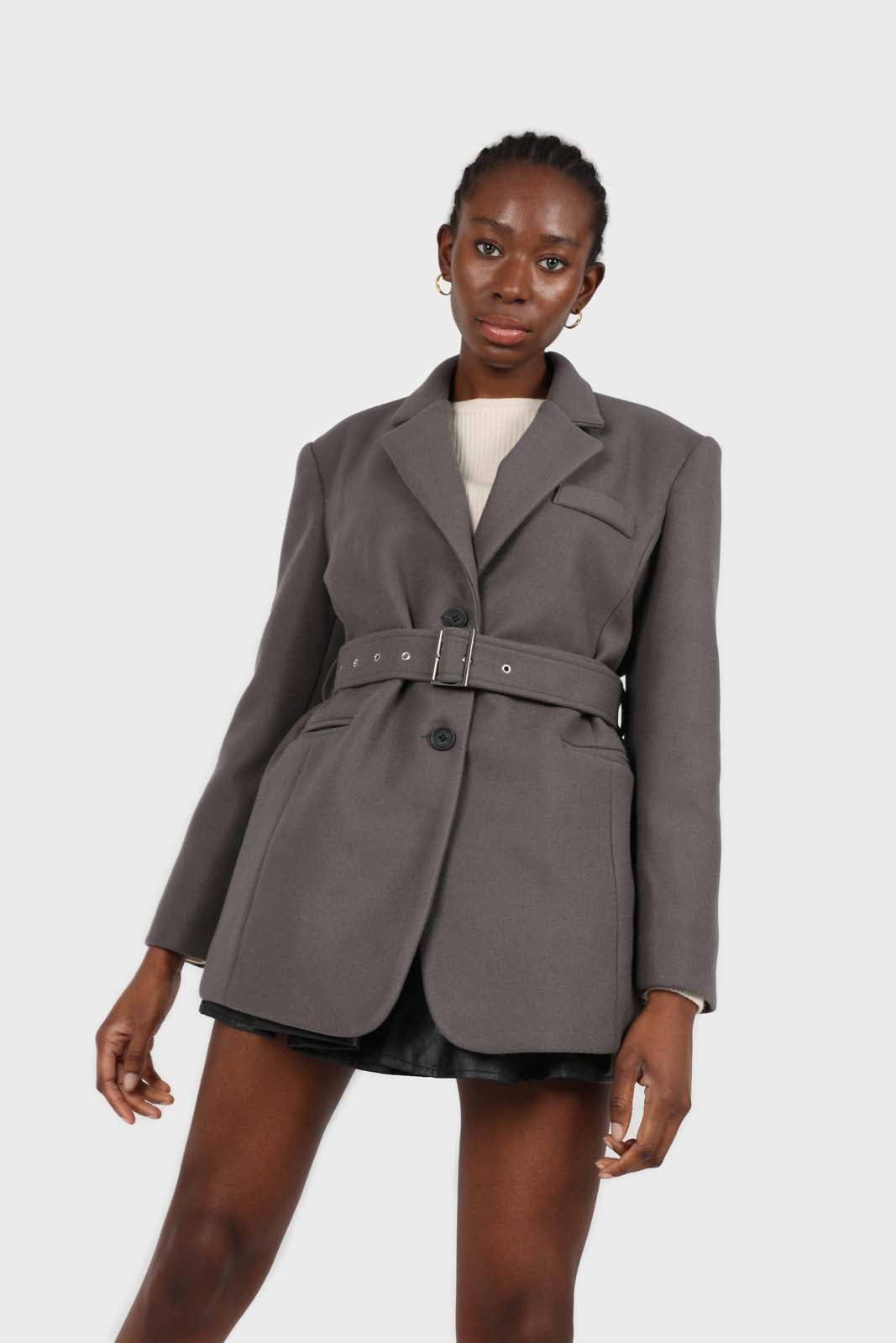 Charcoal wool blend oversized belted blazer2