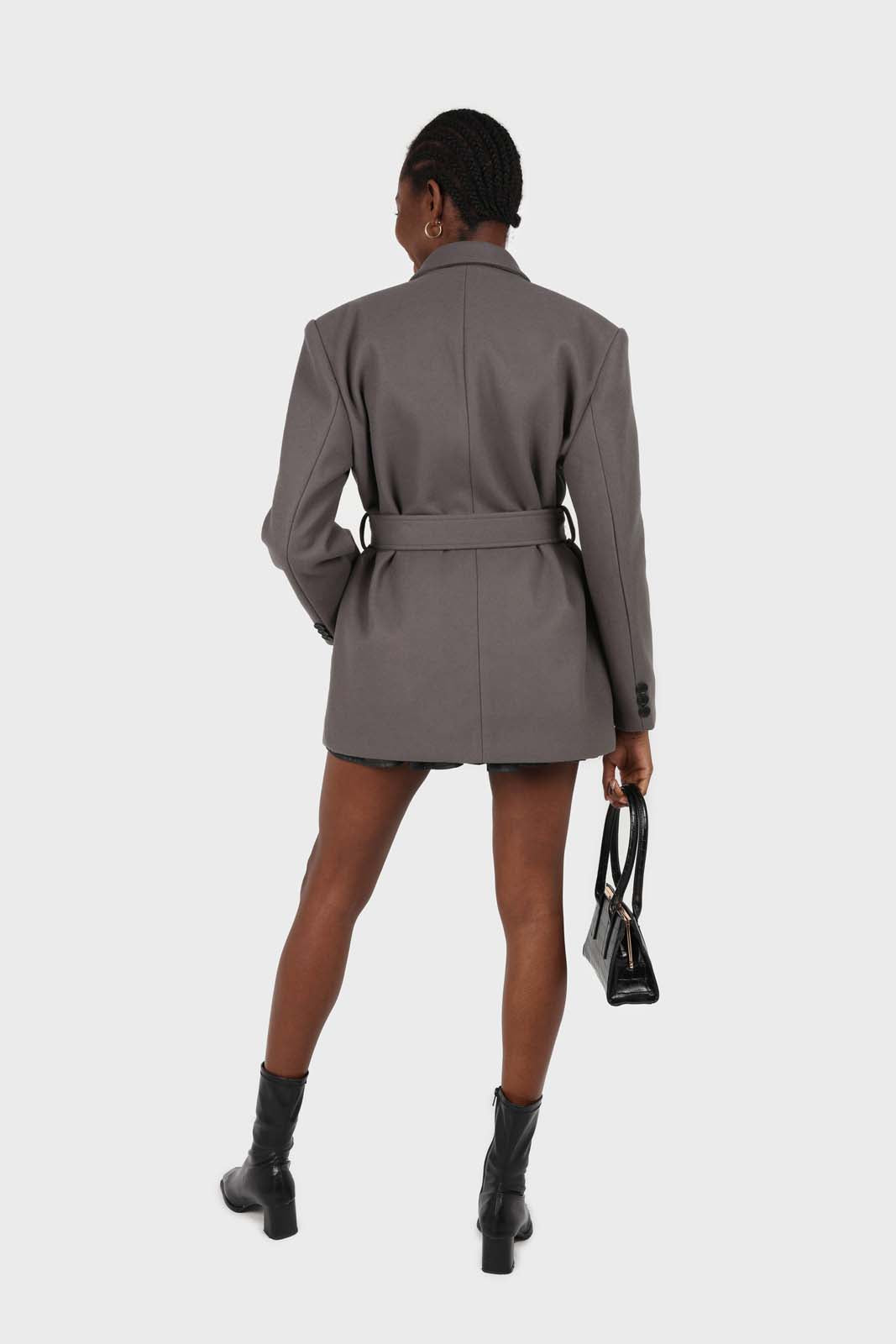 Charcoal wool blend oversized belted blazer3
