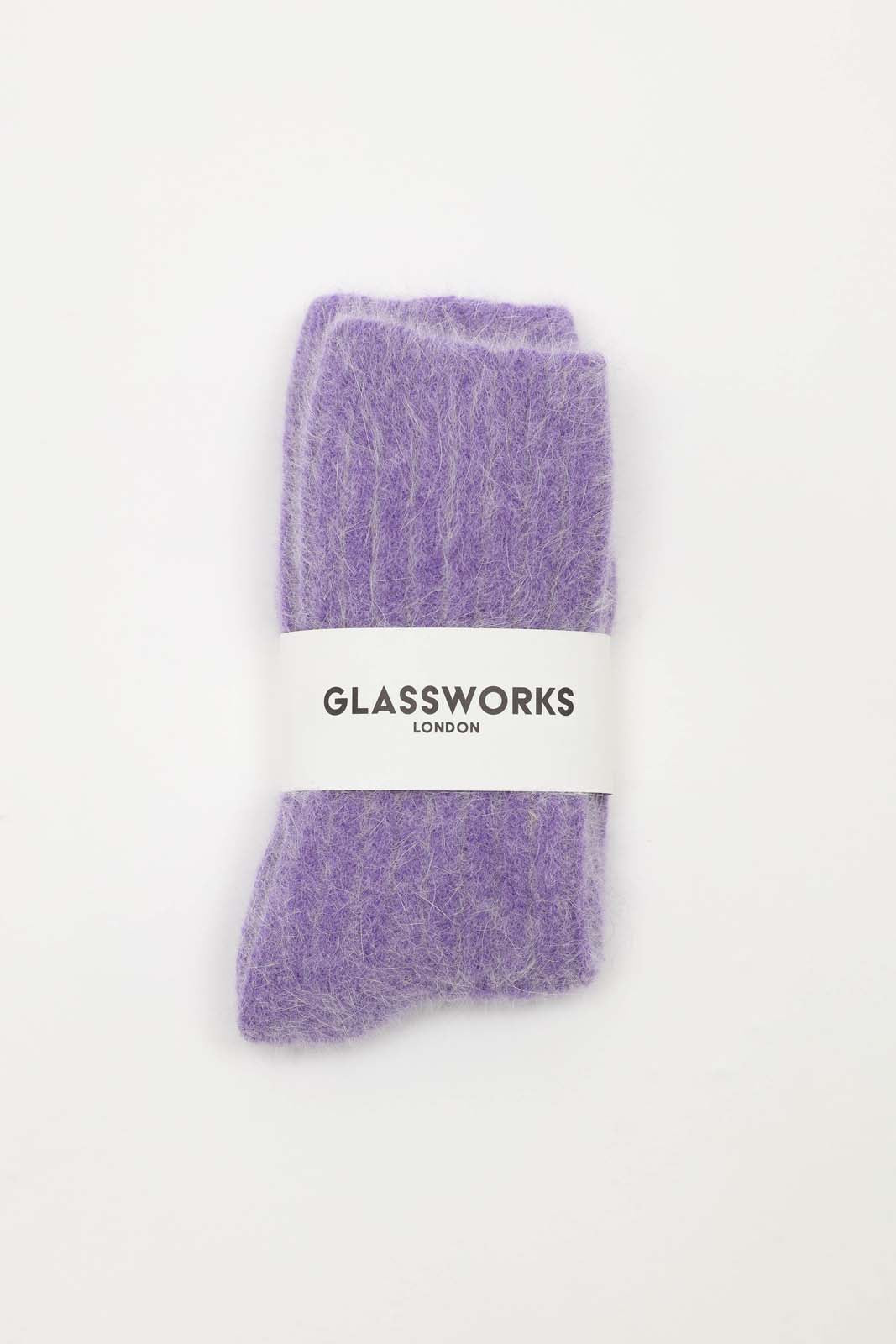 Violet large ribbed angora socks