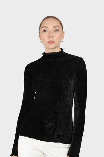 Black wrinkle velvet turtleneck top1sx