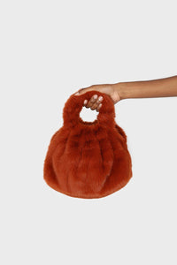 Dusty orange furry ring handle crossbody handbag1sx