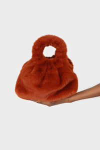 Dusty orange furry ring handle crossbody handbag2