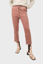 Load image into Gallery viewer, Pale pink corduroy drawstring loose fit trousers2
