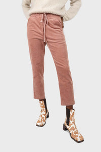 Pale pink corduroy drawstring loose fit trousers2