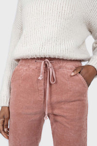 Pale pink corduroy drawstring loose fit trousers3