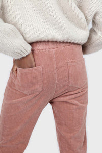 Pale pink corduroy drawstring loose fit trousers4