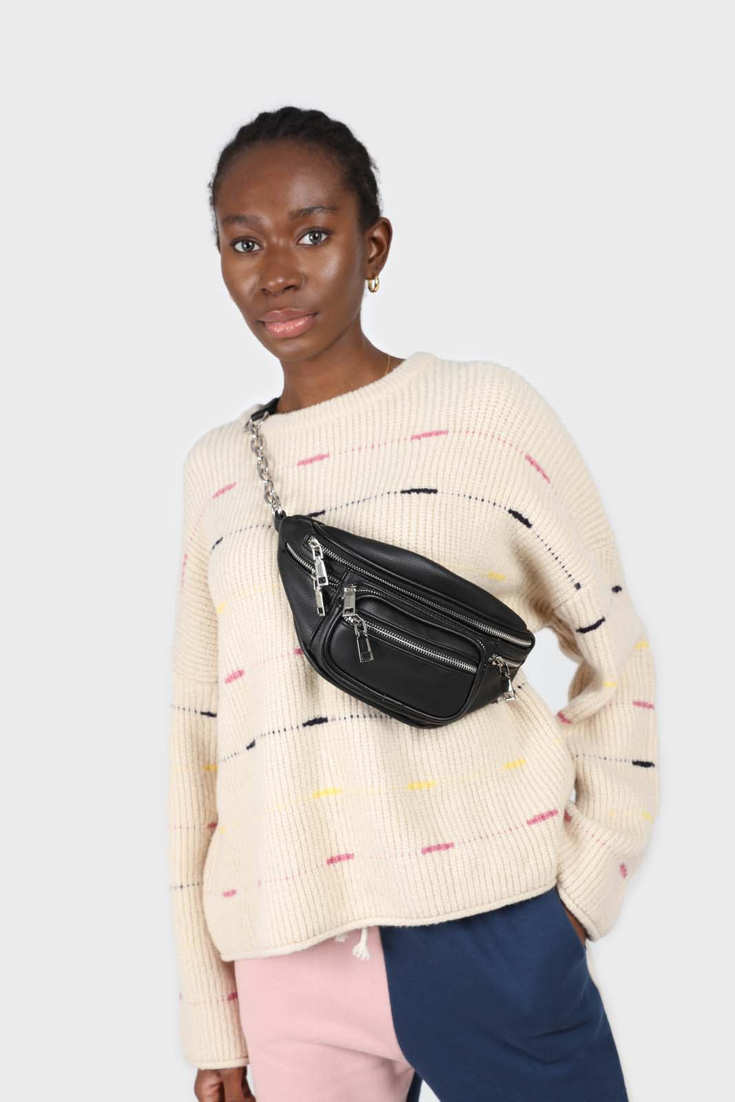 Ivory and pink stiched stripe jumper3