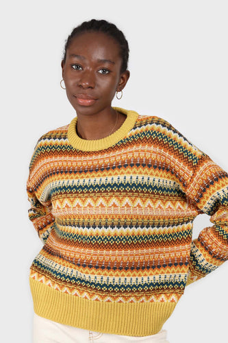 Yellow multi patterned crew neck jumper1sx
