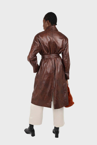 Brown cracked vegan leather belted coat1sx