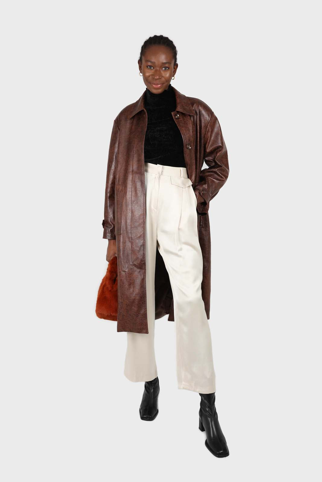 Brown cracked vegan leather belted coat2