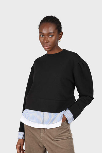 Black layered hem puff sleeved sweatshirt1sx