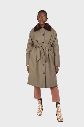 Khaki faux fur collar contrast faux fur lined trench coat1sx