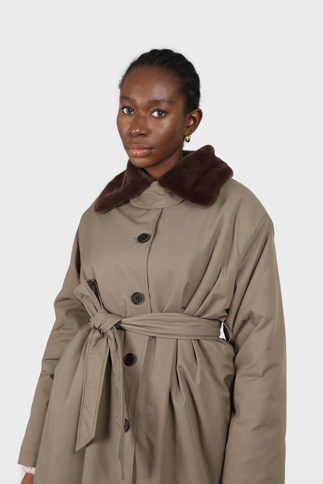 Khaki faux fur collar contrast faux fur lined trench coat2
