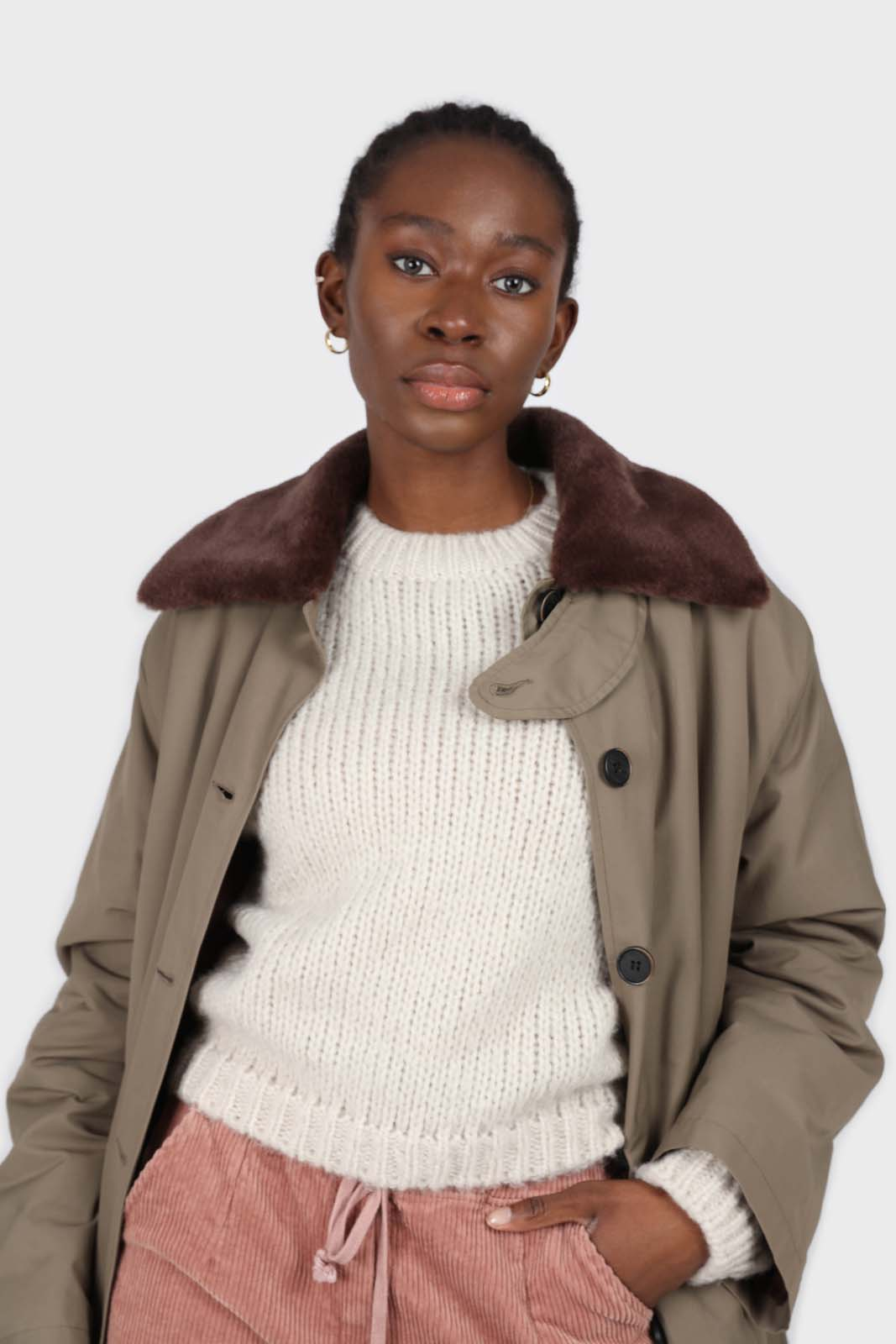 Khaki faux fur collar contrast faux fur lined trench coat3