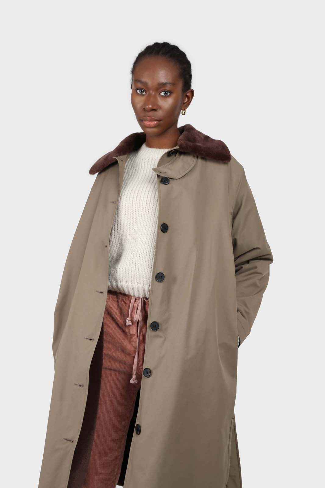 Khaki faux fur collar contrast faux fur lined trench coat5