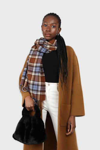 Brown and blue classic plaid scarf7