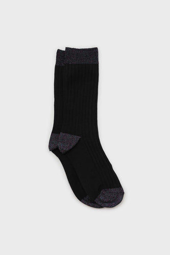 Black contrast metallic trim socks1sx