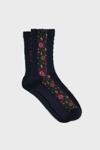 Navy blue textured floral strip socks1sx