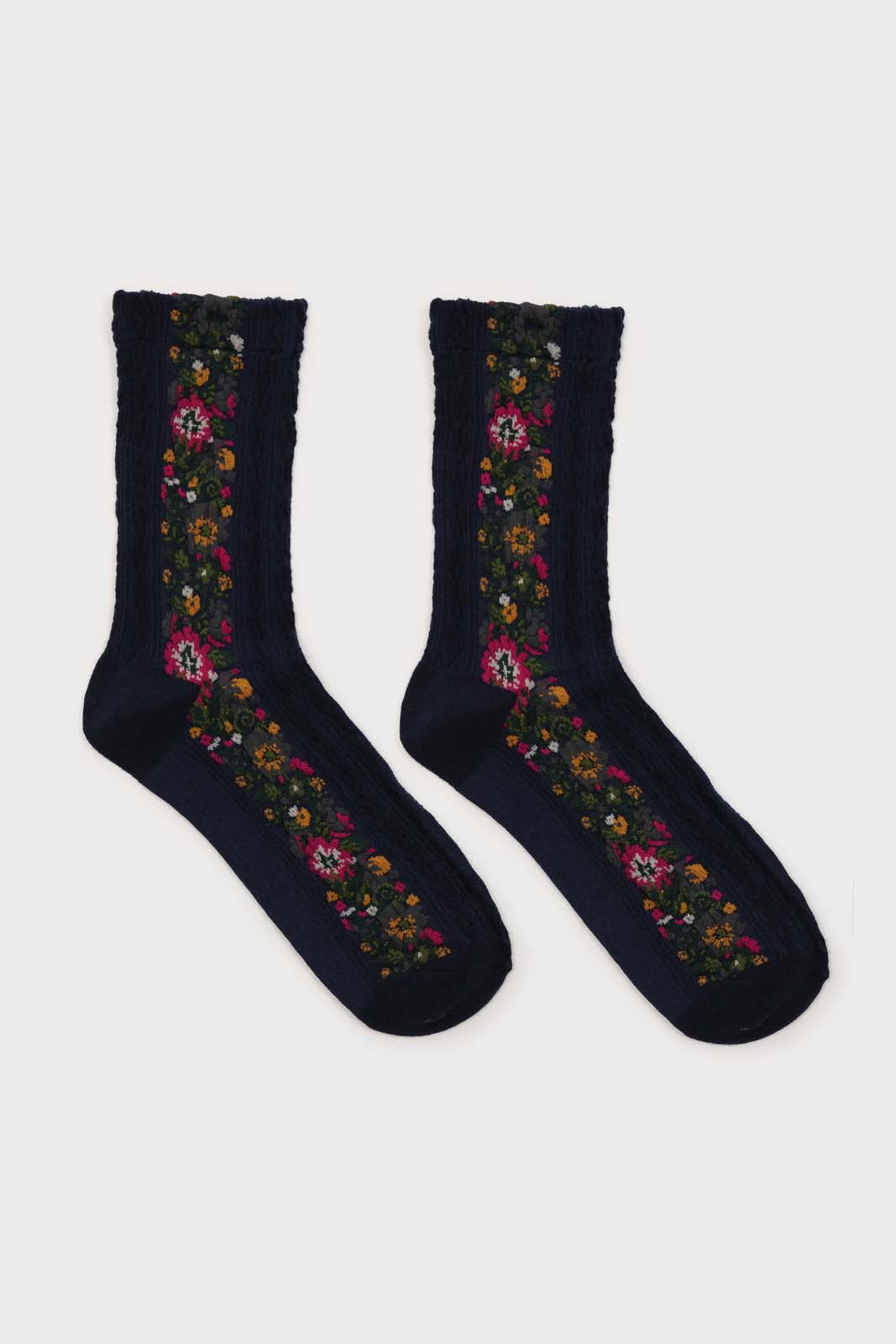 Navy blue textured floral strip socks2