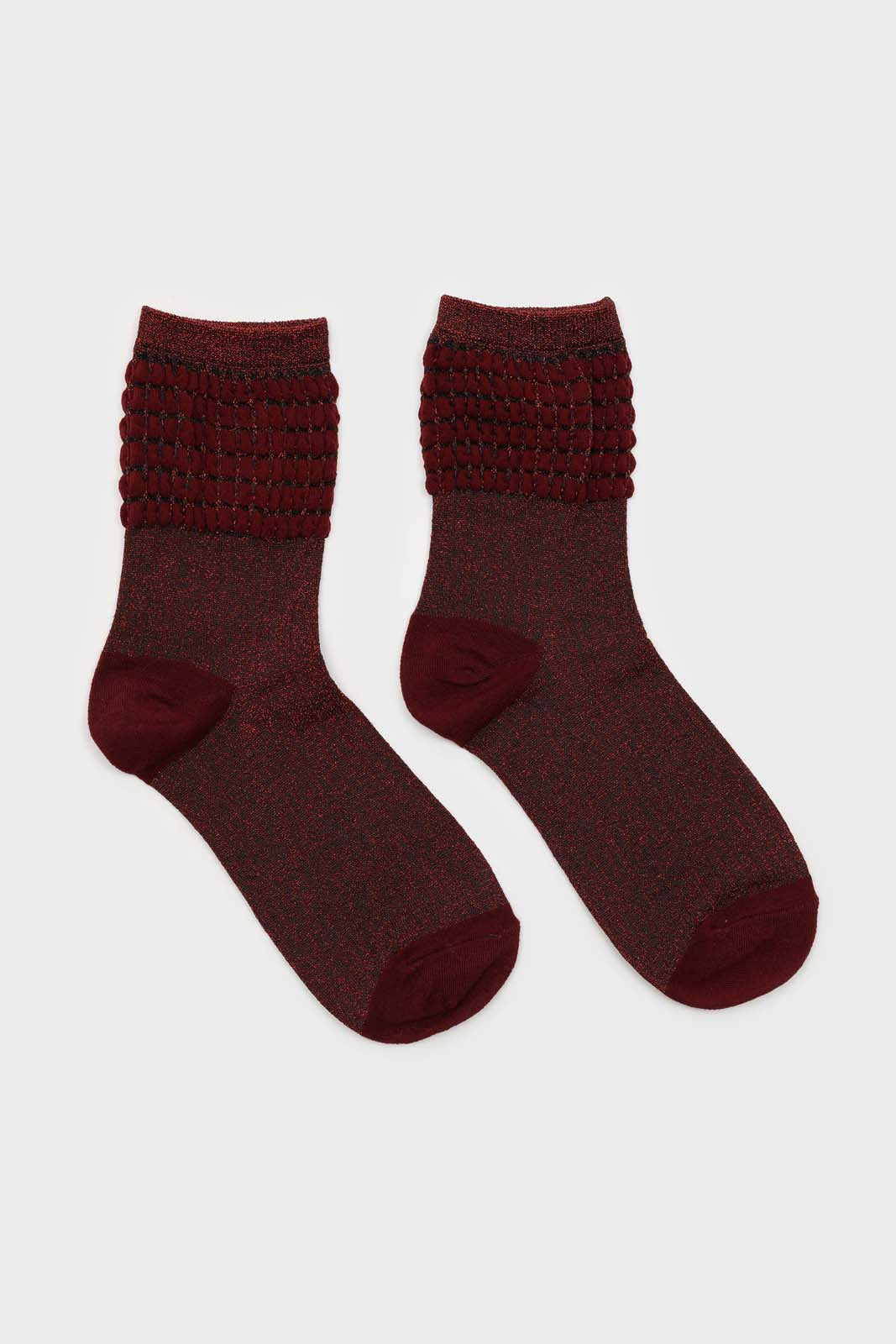 Red ribbed glitter puffed ankle socks2