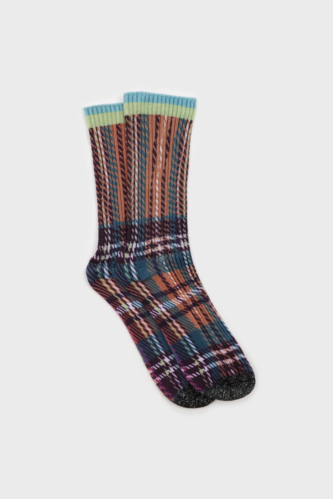 Light blue and purple metallic checked socks1sx