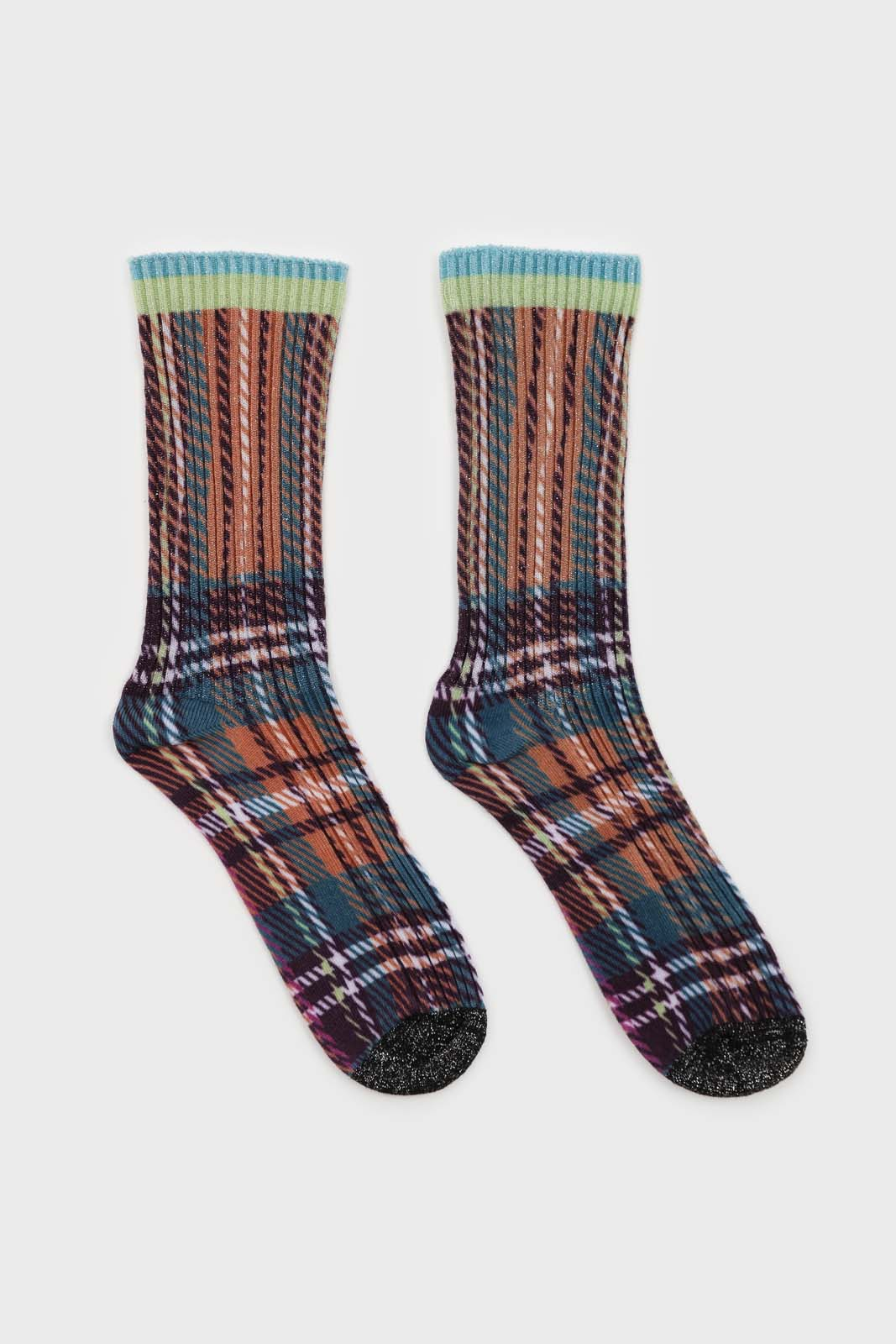 Light blue and purple metallic checked socks2
