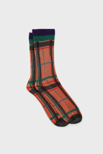 Orange and green metallic checked socks1sx