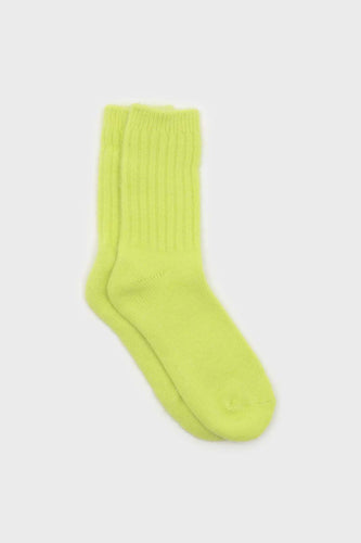 Neon yellow angora ribbed socks2