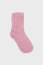 Load image into Gallery viewer, Bright pink angora ribbed socks1sx