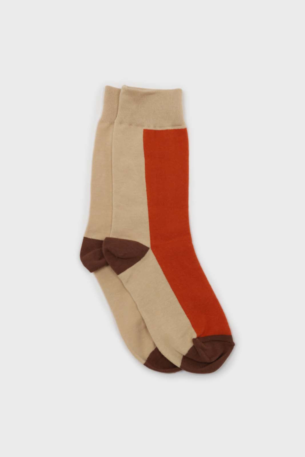 Orange and beige thick vertical strip socks1sx