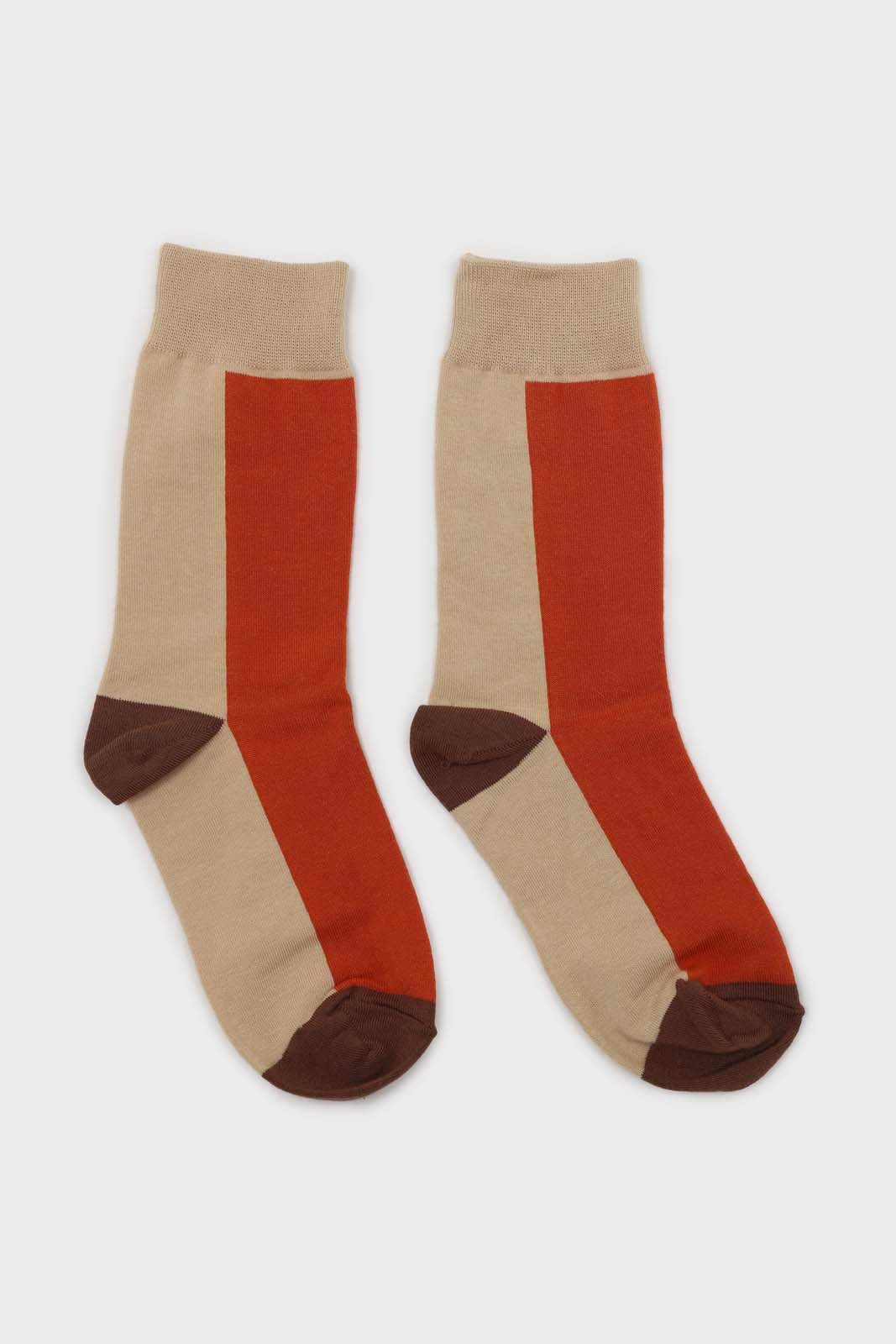 Orange and beige thick vertical strip socks3