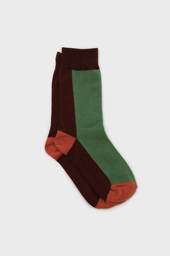 Green and brown thick vertical strip socks1sx