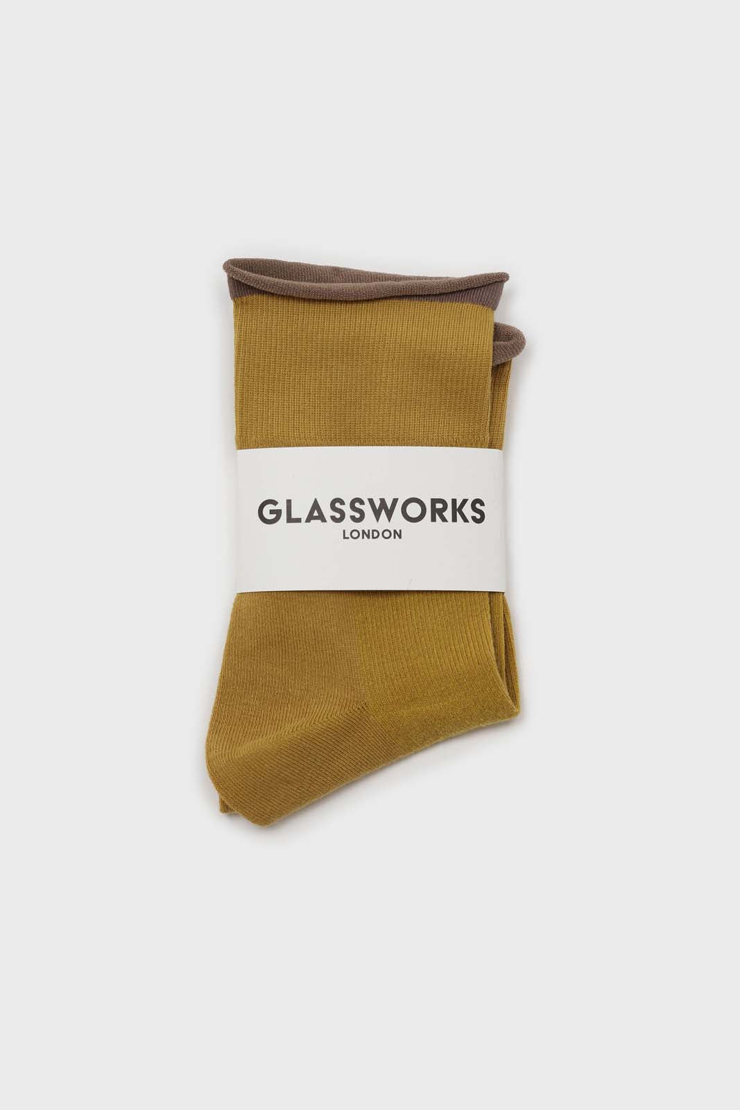 Yellow and beige rolled trim socks2