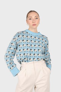 Blue intarsia sheep crew neck jumper