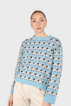 Load image into Gallery viewer, Blue intarsia sheep crew neck jumper