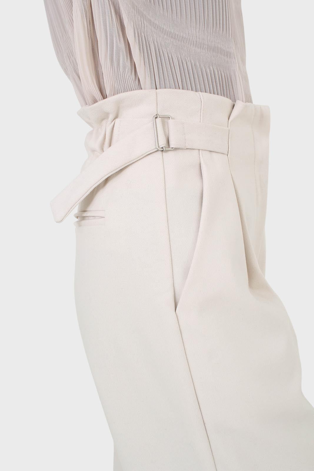 Ivory side buckle wide leg trousers5