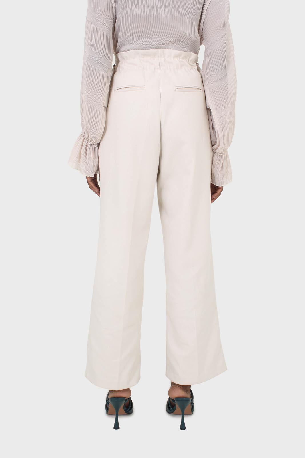 Ivory side buckle wide leg trousers6